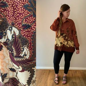Indonesian Batik Print Button Down Shirt